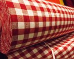 TABLE CLOTH FABRIC PANELS WHITE/RED / WIDTH CM 280